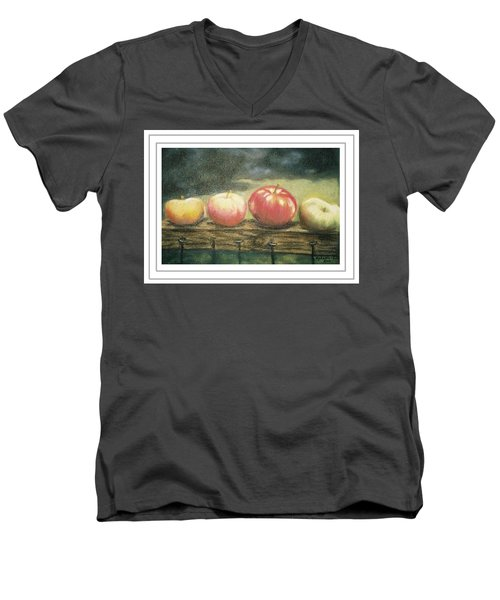 Apples On A Rail Men's V-Neck T-Shirt