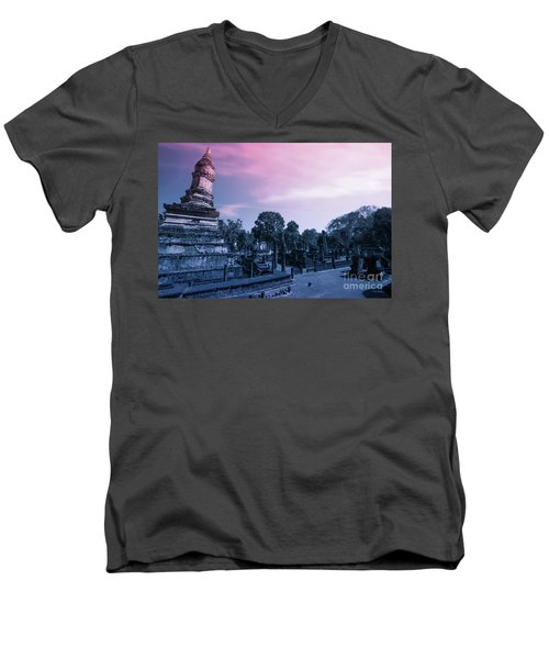 Artistic Of Chedi Men's V-Neck T-Shirt by Atiketta Sangasaeng