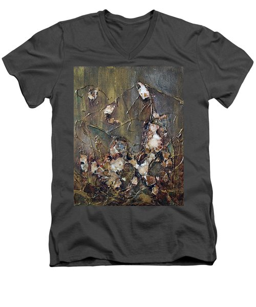 Men's V-Neck T-Shirt featuring the painting Autumn Leaves by Joanne Smoley