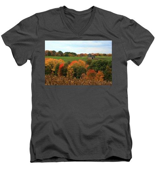 Barn On Autumn Hillside Men's V-Neck T-Shirt by Angela Rath