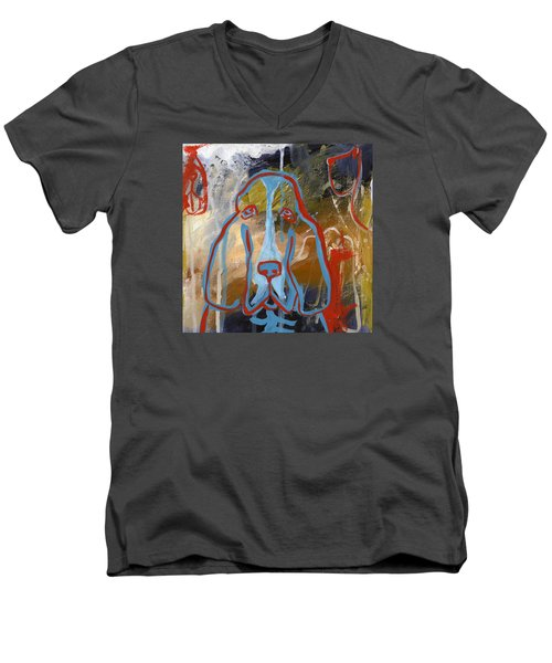 Men's V-Neck T-Shirt featuring the painting Basset Hound  by Leanne WILKES