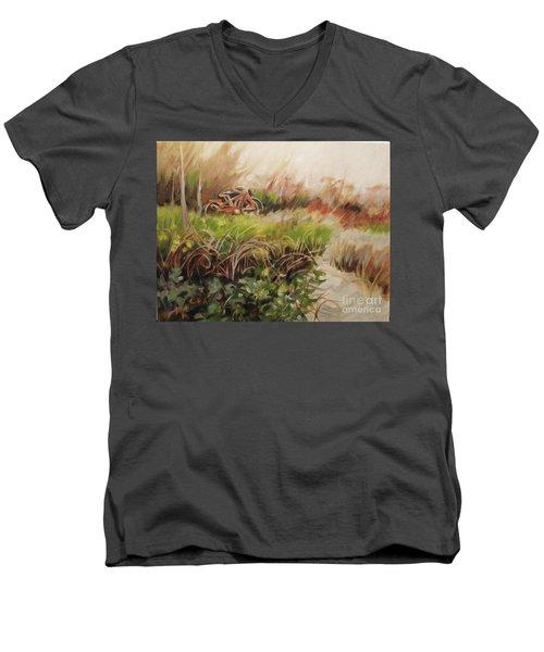 Beach Bikes Men's V-Neck T-Shirt by Mary Hubley