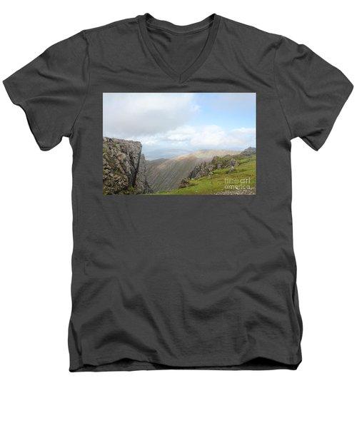 Ben Nevis Men's V-Neck T-Shirt by David Grant