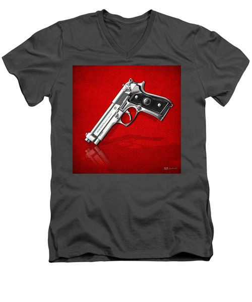 Beretta 92fs Inox Over Red Leather  Men's V-Neck T-Shirt by Serge Averbukh