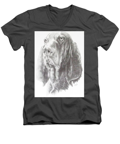 Black And Tan Coonhound Men's V-Neck T-Shirt by Barbara Keith