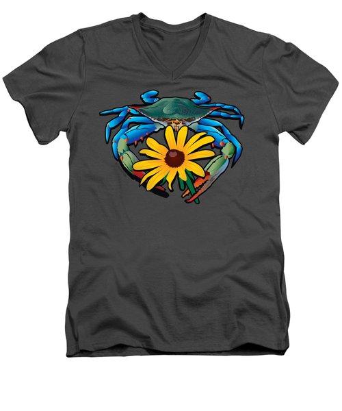 Blue Crab Maryland Black-eyed Susan Men's V-Neck T-Shirt