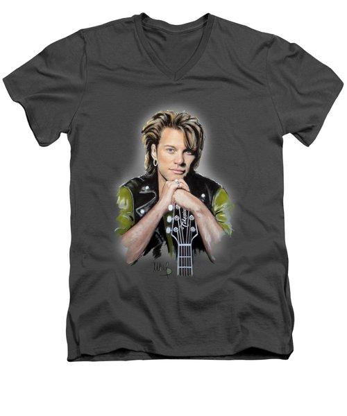 Bon Jovi Men's V-Neck T-Shirt by Melanie D