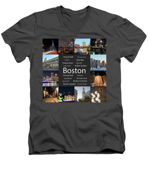 Boston Ma Collage Men's V-Neck T-Shirt