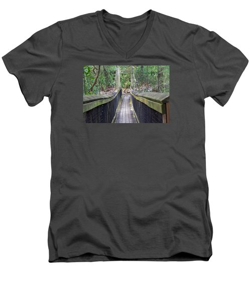 Bridge To Paradise Men's V-Neck T-Shirt by Kenneth Albin