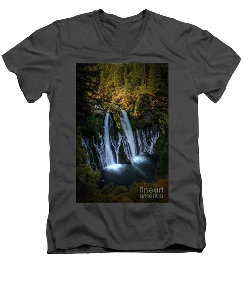 Burney Falls Men's V-Neck T-Shirt by Kelly Wade