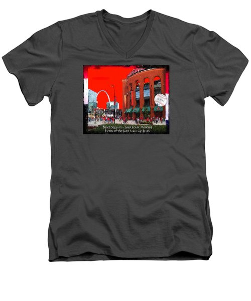 Busch Stadium - Saint Louis Missouri Men's V-Neck T-Shirt by John Freidenberg