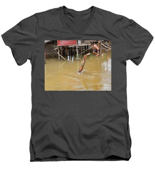 2 Cambodian Boys Dive Color Men's V-Neck T-Shirt
