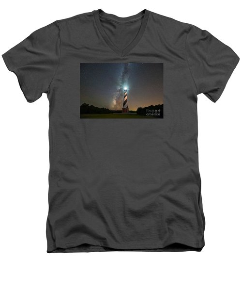 Cape Hatteras Lighthouse Milky Way Men's V-Neck T-Shirt