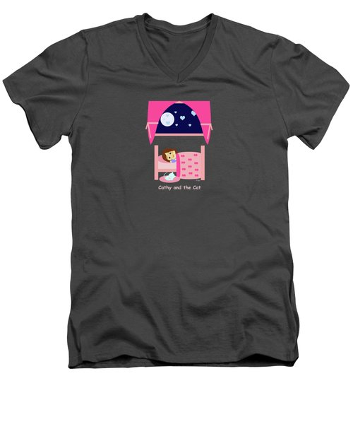 Cathy And The Cat At Night Men's V-Neck T-Shirt