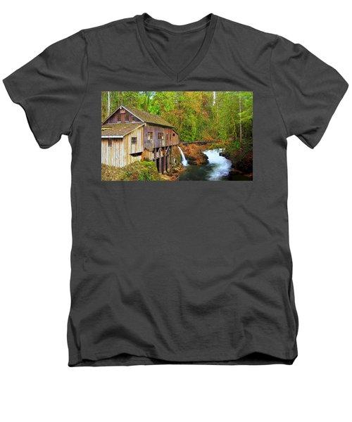 Cedar Creek Grist Mill Men's V-Neck T-Shirt by Steve Warnstaff
