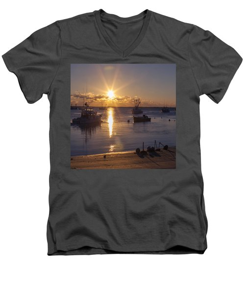 Men's V-Neck T-Shirt featuring the photograph Chatham Sunrise by Charles Harden