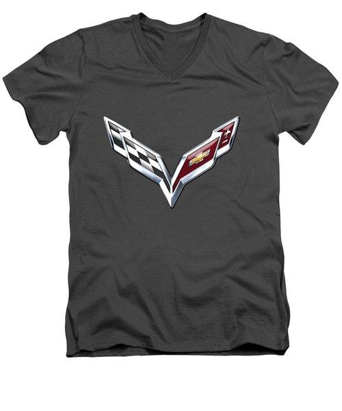 Chevrolet Corvette - 3d Badge On Red Men's V-Neck T-Shirt