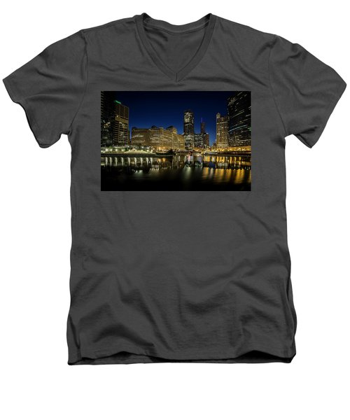 Chicago River And Skyline At Dawn Men's V-Neck T-Shirt