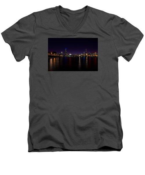 Men's V-Neck T-Shirt featuring the photograph Chicago-skyline 2 by Richard Zentner