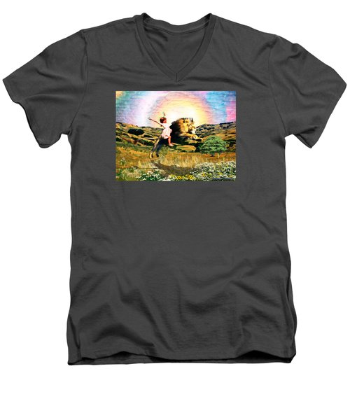 Men's V-Neck T-Shirt featuring the digital art Child Like Faith by Dolores Develde