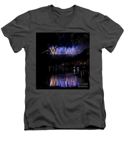 Men's V-Neck T-Shirt featuring the photograph Clifton Suspension Bridge Fireworks by Colin Rayner