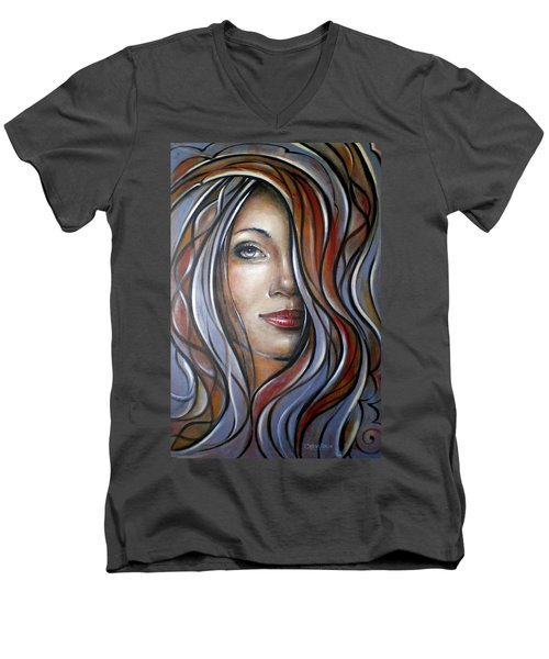 Men's V-Neck T-Shirt featuring the painting Cool Blue Smile 070709 by Selena Boron