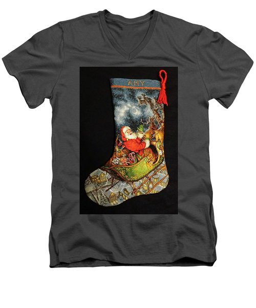 Men's V-Neck T-Shirt featuring the photograph Cross-stitch Stocking by Farol Tomson