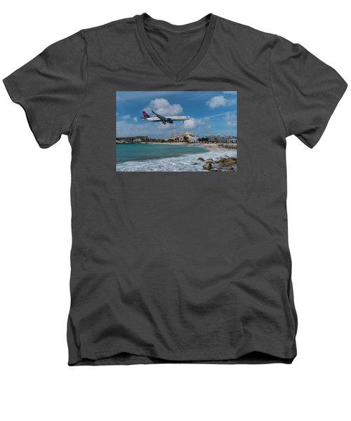 Delta Air Lines Landing At St. Maarten Men's V-Neck T-Shirt by David Gleeson