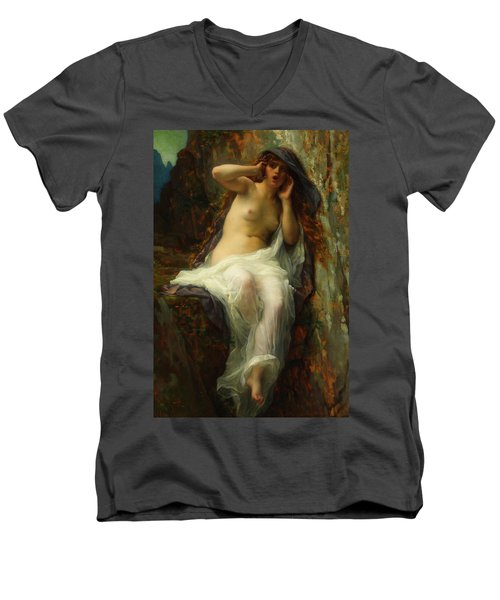 Men's V-Neck T-Shirt featuring the painting Echo by Alexandre Cabanel