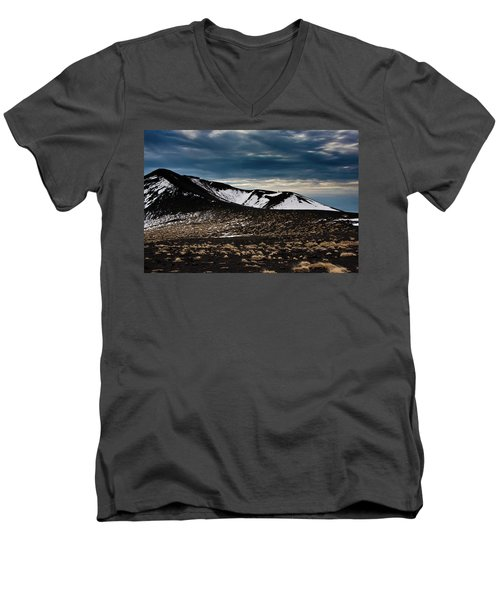 Men's V-Neck T-Shirt featuring the photograph Etna, Red Mount Crater by Bruno Spagnolo
