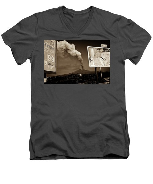 Men's V-Neck T-Shirt featuring the photograph Etna, The Volcano by Bruno Spagnolo