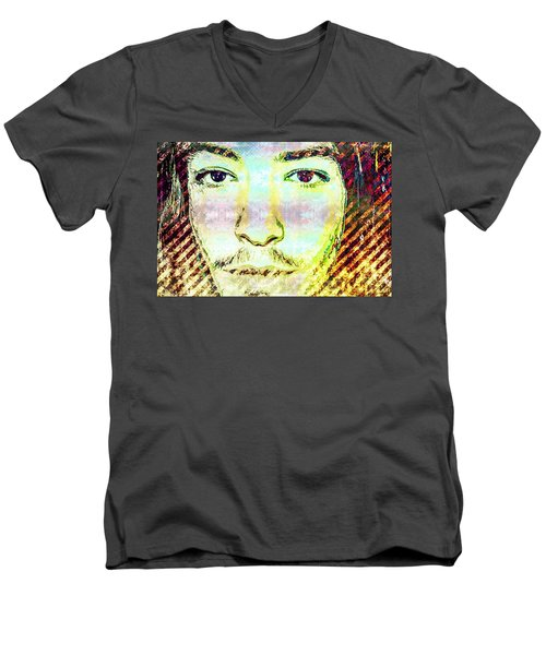 Men's V-Neck T-Shirt featuring the mixed media Ezra Miller by Svelby Art