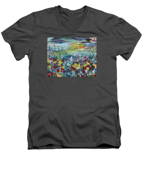 Flower Field Men's V-Neck T-Shirt by Teresa Wegrzyn