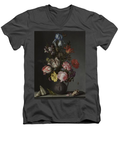 Flowers In A Vase With Shells And Insects Men's V-Neck T-Shirt