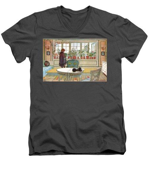 Flowers On The Windowsill Men's V-Neck T-Shirt