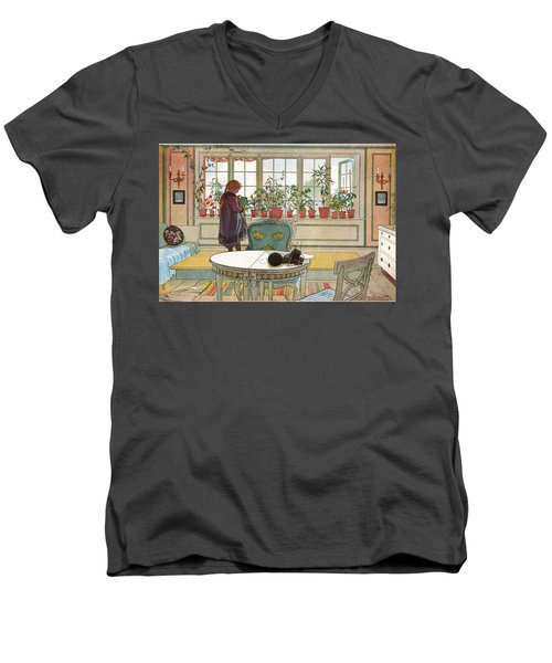 Flowers On The Windowsill Men's V-Neck T-Shirt
