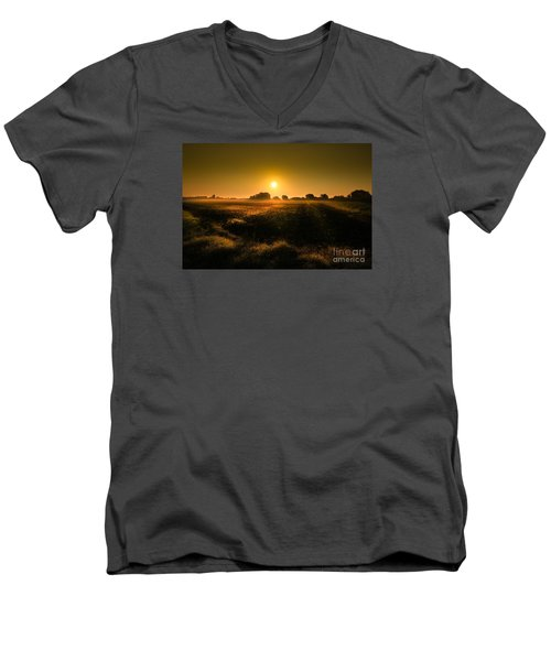 Men's V-Neck T-Shirt featuring the photograph Foggy Morning by Franziskus Pfleghart