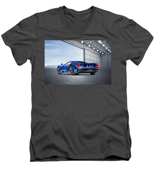 Men's V-Neck T-Shirt featuring the digital art Ford Gt by Peter Chilelli