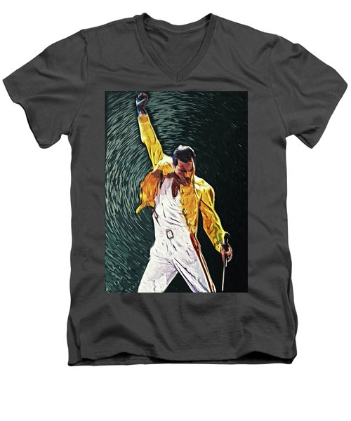 Freddie Mercury Men's V-Neck T-Shirt by Taylan Apukovska