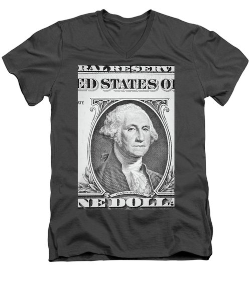 Men's V-Neck T-Shirt featuring the photograph George Washington by Les Cunliffe
