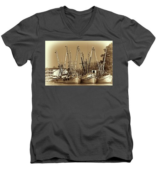 Georgetown Shrimpers Men's V-Neck T-Shirt by Bill Barber