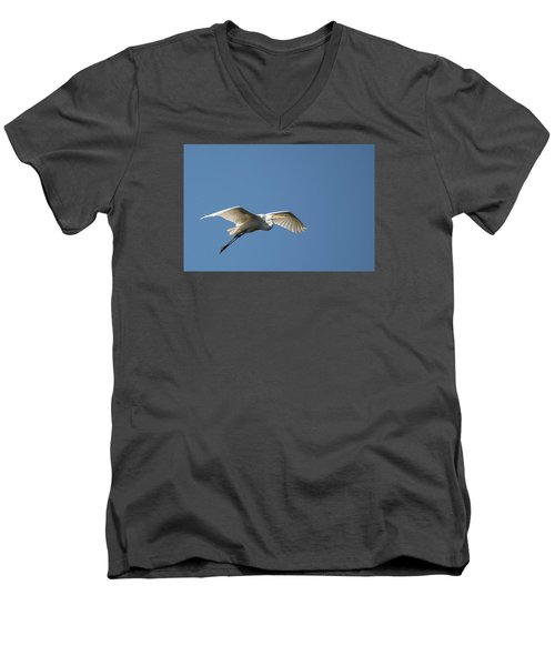 Great Egret Men's V-Neck T-Shirt by Linda Geiger