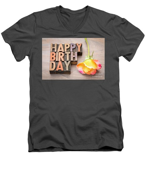 Happy Birthday Greetings Card In Wood Type Men's V-Neck T-Shirt