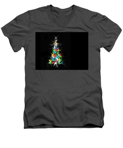 Men's V-Neck T-Shirt featuring the digital art Happy Holidays by Ludwig Keck
