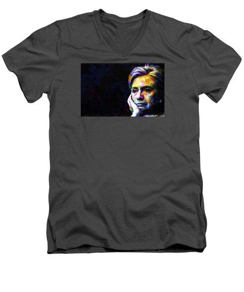Hillary Clinton Men's V-Neck T-Shirt by Svelby Art