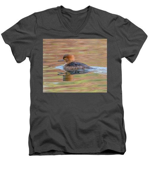 Hooded Merganser Men's V-Neck T-Shirt by Jerry Cahill