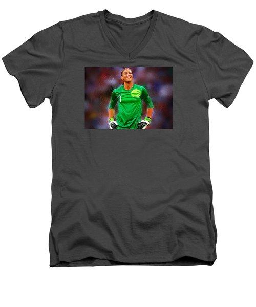 Hope Solo Men's V-Neck T-Shirt by Semih Yurdabak