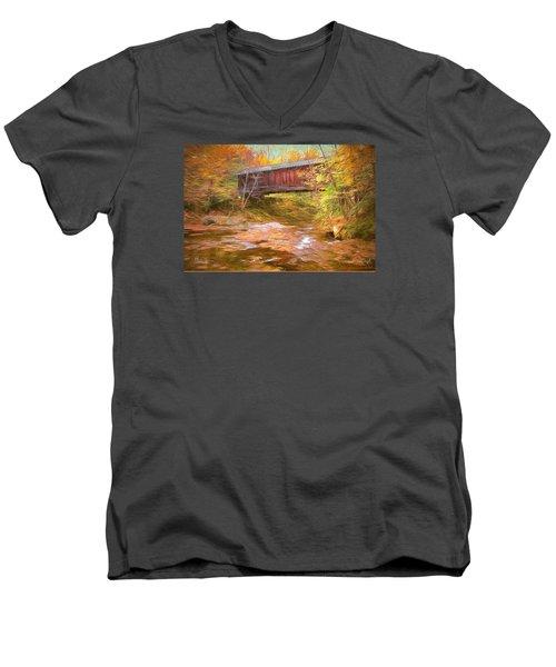 Men's V-Neck T-Shirt featuring the digital art Hutchins Bridge by John Selmer Sr