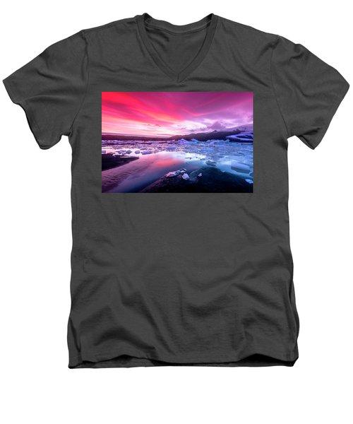 Icebergs In Jokulsarlon Glacial Lagoon Men's V-Neck T-Shirt by Joe Belanger