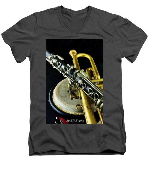 Jazz Men's V-Neck T-Shirt by Elf Evans